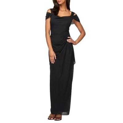 アレックスイブニングス レディース ワンピース トップス Petite Exposed-Shoulder Mesh Gown