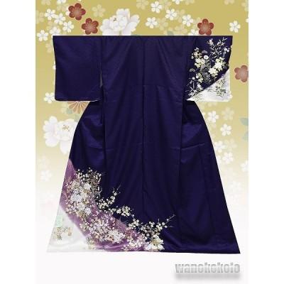 洗える着物 国産単衣附下 フリーサイズ 濃紫系/牡丹・草花 HTK-320