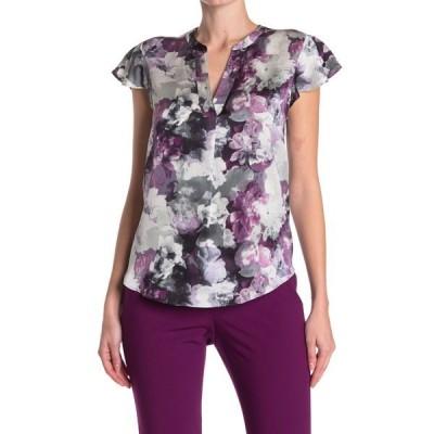 カルバンクライン レディース シャツ トップス Floral Flutter Sleeve Blouse DARK PUR M