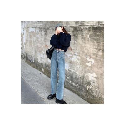 【送料無料】春秋 韓国風 ハイウエスト 着やせ 何でも似合う ストレ | 346770_A64497-4049497