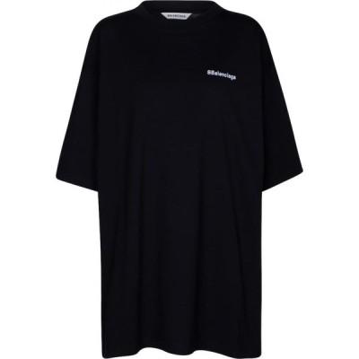 バレンシアガ Balenciaga レディース Tシャツ トップス logo cotton t-shirt Black/White