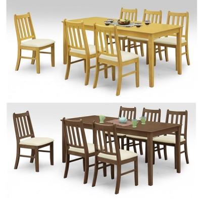 ダイニングテーブルセット 7点セット 6人用 ブラウン ナチュラル 木製 北欧風