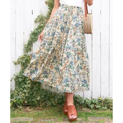 スカート 花柄ティアードスカート