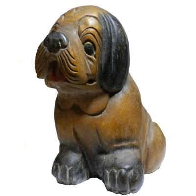 木彫り アジアン雑貨 わんちゃんの木彫り2