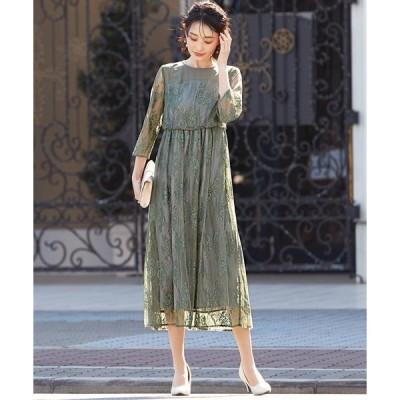 ドレス 総レースロングレーススカート ワンピースドレス