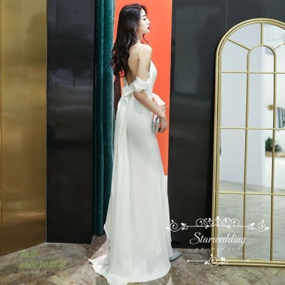 パーティードレス 花嫁 ドレス ウェディングドレス 高級感 ワンピース ブライダル ビーチフォト 結婚式 dress wedding 挙式 二次会 後撮り スレンダードレス