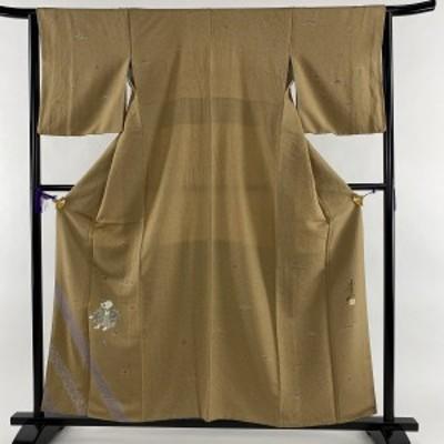 付下げ 美品 秀品 落款 童 松と梅 金彩 薄茶色 袷 身丈159cm 裄丈62.5cm S 正絹 中古