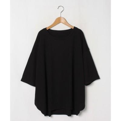 【アハッピーマリリン】【七分袖】 さらりとドライタッチ 褒められ美人な 裾ラウンド 細魅せ ゆる Tシャツ