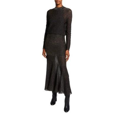ヴィクトリア ベッカム レディース ワンピース トップス Metallic Striped Open-Back Long-Sleeve Dress