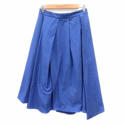 【中古】ドレスキップ DRESKIP プリーツスカート フレア ミモレ ロング M 青 ブルー /AU レディース