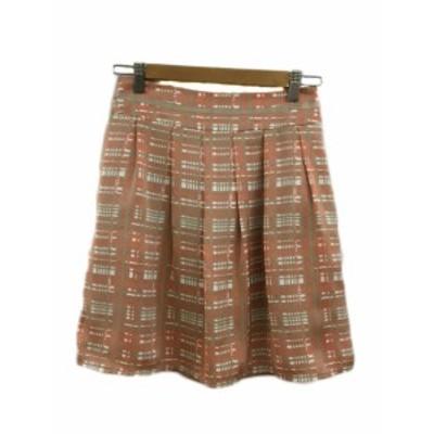 【中古】ナチュラルビューティーベーシック NATURAL BEAUTY BASIC スカート フレア ミニ タック 総柄 S オレンジ 白