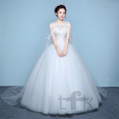 ウエディングドレス安いaライン白袖あり編み上げレース花嫁結婚式パーティードレス二次会ロングドレスイブニングドレス安い