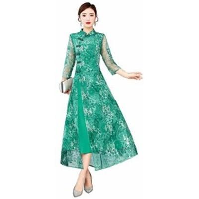 (古韵) 日常 改良 チャイナドレス風 優雅 上品 レース チュール 刺繍 ワンピース 旗袍 チーパオ (緑, M)