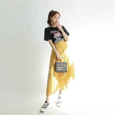 【期間限定大特価!】アシンメトリーストライプスカート