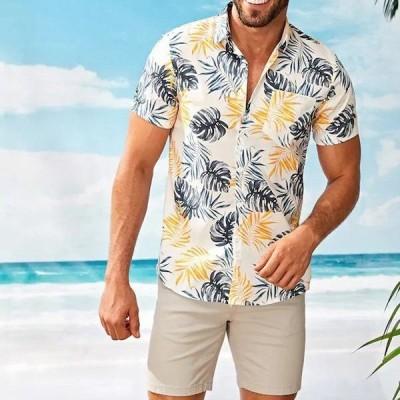 のメンズシャツカミーサ半袖シャツ ストリートスタンド襟ストリップハワイアンプリントブラウストップカミーサ