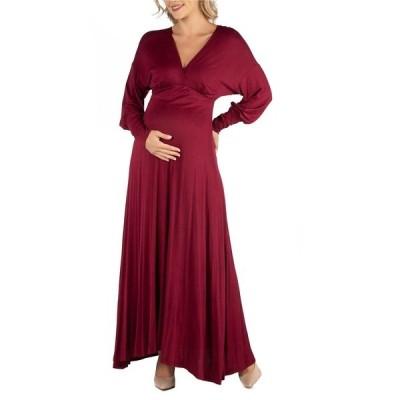 24セブンコンフォート ワンピース トップス レディース Formal Long Sleeve Maternity Maxi Dress Red