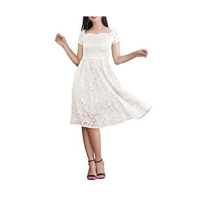 レディース ワンピース ドレス フレア かわいい レース 花柄 刺繍 クルーネック 五分袖 アシンメトリー ワンピ ホワイトL