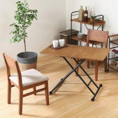 昇降式テーブル おしゃれ 幅100×奥行55×高さ14~72cm ブラウン