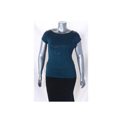インク Tシャツ トップス INC ダーク ターコイズ 半袖 Sequined T Shirt サイズ L 59 LAFO