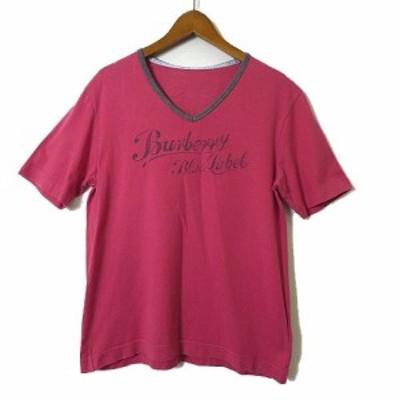 【中古】バーバリーブルーレーベル BURBERRY BLUE LABEL Tシャツ カットソー ロゴ 半袖 Vネック ヴィンテージ M 赤