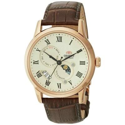 オリエント 腕時計 Orient FAK00001Y Sun and Moon Version 3 Automatic Rose Gold Brown Leather Watch
