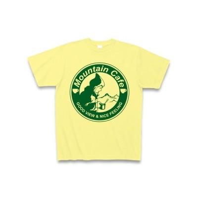 マウンテンカフェ(丸ロゴ緑) Tシャツ(ライトイエロー)