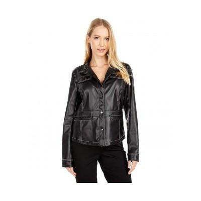 Sam Edelman サムエデルマン レディース 女性用 ファッション アウター ジャケット コート ライダージャケット Faux Leather Snap Front Jacket - Black