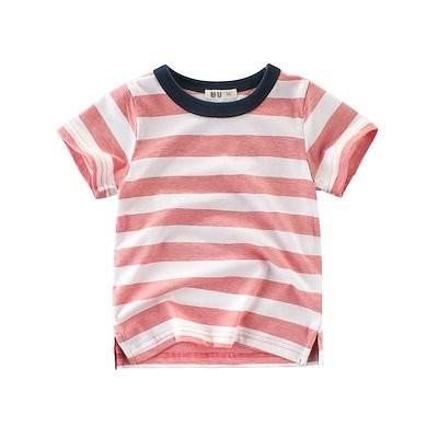 夏の新商品1-10歳90-140 新金韓国版の子供服 潮流 中性男の子女の子半袖純綿Tシャツ かわいい軟らかいスキンケア上着 散歩するレジャー しま模様下付きのシャツ BY01
