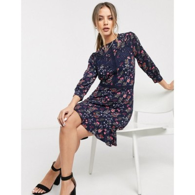 オアシス ミディドレス レディース Oasis floral print skater dress with lace trim in navy エイソス ASOS マルチカラー