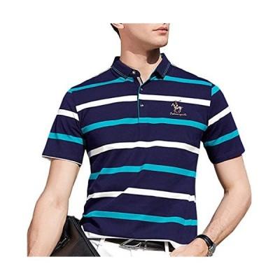 ポロシャツ メンズ 半袖 ボーダー スポーツウェア カジュアル ゴルフウェア メンズ ビジネス ポロ 男性 多色 夏 (ブルー8091 2XL)