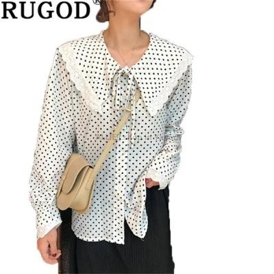 レディースファッション RUGODファッションレディースドットプリントシフォンシャツオフィスウェアカジュアル長袖ブラウス女性ピーターパンカラー春シャツ