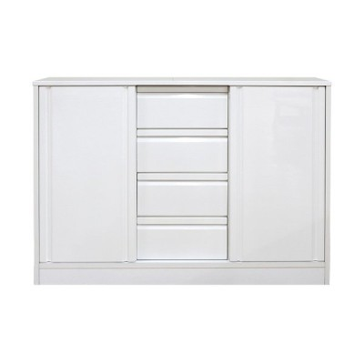 キッチンカウンター キッチン収納 食器棚 完成品  引き戸 幅120cm 薄型 ホワイト 白