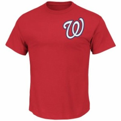 Majestic マジェスティック スポーツ用品  Majestic Washington Nationals Red New Wordmark T-Shirt
