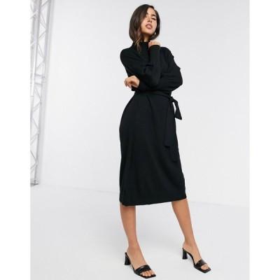 ゲタス ミディドレス レディース Gestuz Rian volume sleeve jumper dress in black  エイソス ASOS sale ブラック 黒
