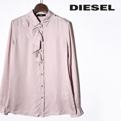 ディーゼル DIESEL 長袖シャツ ブラウス レディース 微光沢 サテン フリル装飾 薄手 C-HALLEY