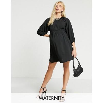 ミスガイデッド Missguided Maternity レディース ワンピース ワンピース・ドレス Dress With Puff Sleeves ブラック