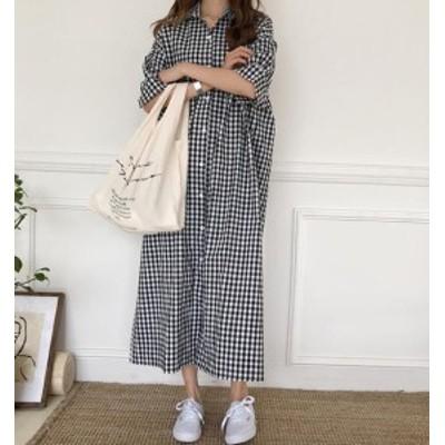 韓国 ファッション レディース ワンピース シャツワンピ ロング ギンガムチェック 大きいサイズ 半袖 ゆったり カジュアル 春夏
