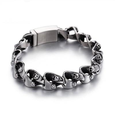 バングル[ラッピング対応] PW 高品質316Lステンレス シルバー銀 髑髏スカル ユニークな結び方 bracelet /  長さ220mm 幅14mm 60g 条件付送料無料61040