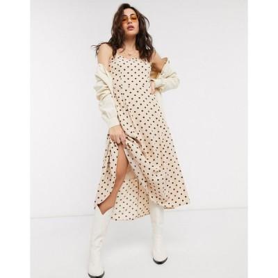 オブジェクト ミディドレス レディース Object midi dress in cream polka dot エイソス ASOS