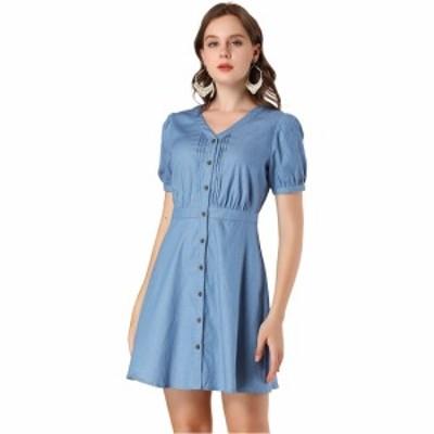Allegra K ミニワンピース ドレス パフ半袖 ボタンダウン Vネック Aライン シャンブレー レディース ブルー XS