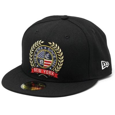 NEWERA キャップ 59FIFTY ロゴエンブロイダリー エンブレム 帽子 大きいサイズあり ベースボールキャップ アメリカ国旗 ストリート ブランド 黒 ブラック