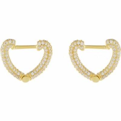 アディナズ ジュエルズ ADINAS JEWELS レディース イヤリング・ピアス ジュエリー・アクセサリー Pave Open Heart Huggie Earrings Gold