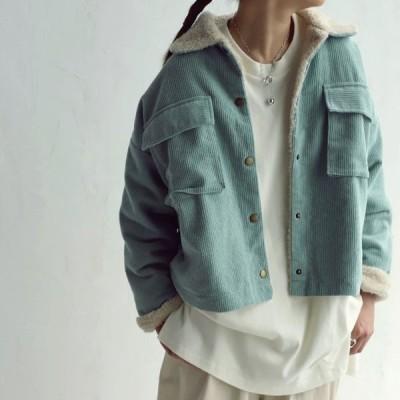 アウター ジャケット コート コーデュロイ ボア 裏地 羽織り プレゼント アンティカフェ