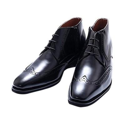 [北嶋製靴工業所] シークレットブーツ ウイングチップ メダリオン 6cm 本革 ファスナー 国産 日本製 牛革 ビジネス メンズ 紐 外羽根 130