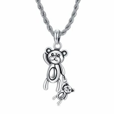 Cekama 925 Silver Necklace for Men Bear Mother and Child Necklace, Special Texture Matte Oxidized 22+2 Inches Gift for Men