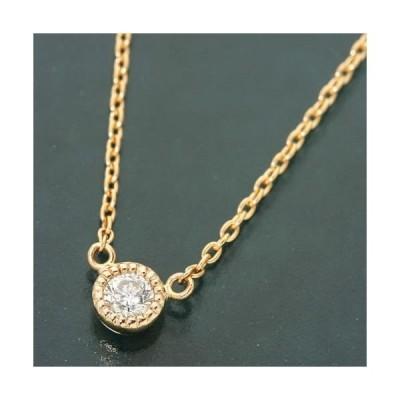 ダイヤモンド ネックレス 一粒 K18 ピンクゴールド 0.1ct ダイヤ1石 0.1カラット 覆輪留め シンプルタイプ タルトモチーフ ペンダント 直送品/代引不可