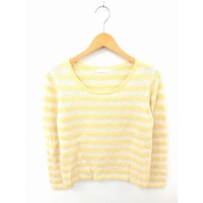 【中古】エニィスィス エニシス anySiS ニット セーター 丸首 ボーダー ウール混 モヘヤ混 長袖 2 黄 薄茶 イエロー