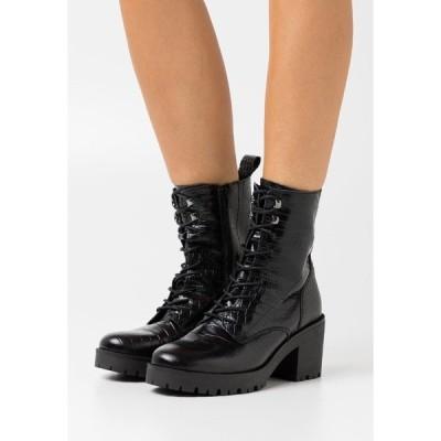 ジン ブーツ&レインブーツ レディース シューズ Lace-up ankle boots - black