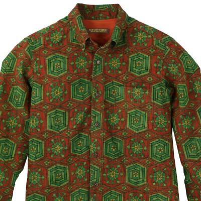 着物シャツ アロハシャツ Lサイズ メンズ 紬 着物アロハ 和柄シャツ クールビズ 和柄 ボタンダウン 長袖 上品 幾何学模様 グリーン 緑