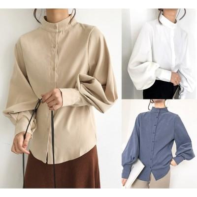 全3色 長袖シャツ ボリューム袖 体型カバー 無地 シンプル